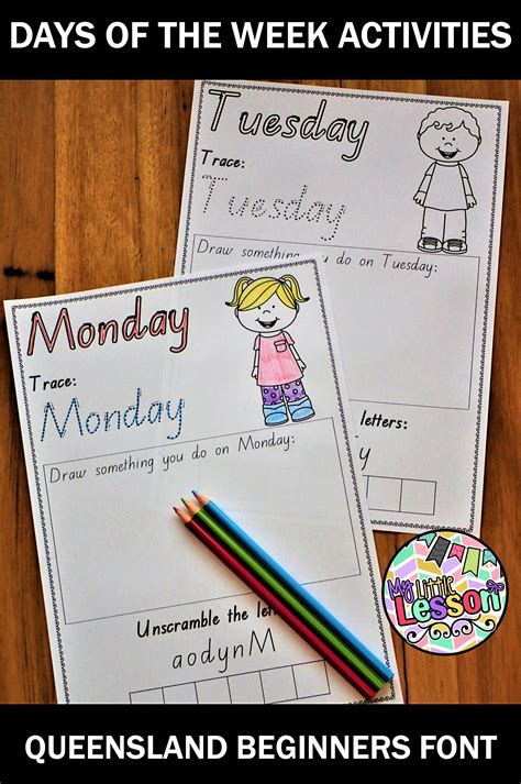 days of the week worksheets qld beginners font lenguaje 832 | daec866992d56aec7f60fdd63059a487