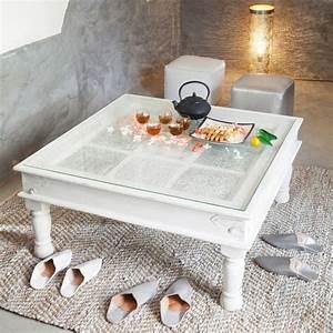 Table Basse Maison Du Monde : table basse indienne en manguier massif blanche l 100 cm table basse maison du monde et indiens ~ Teatrodelosmanantiales.com Idées de Décoration