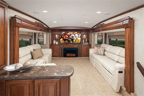 luxury fifth wheel rv front living room the trend in fifth wheels brings the lounge