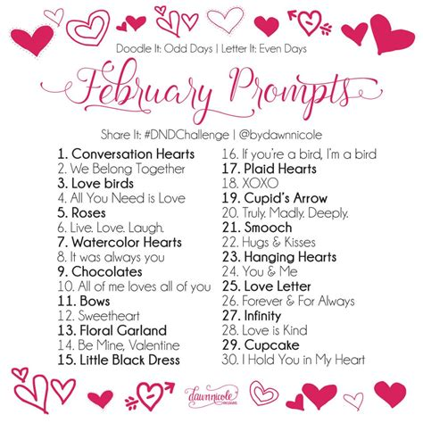 30 Day Challenge February Prompts  Dawn Nicole Designs®