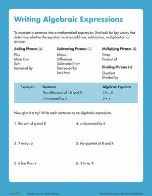 writing algebraic expressions worksheet educationcom