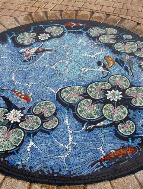 Mosaic Koi Pond  Great Shadowing, Details Like The Fish
