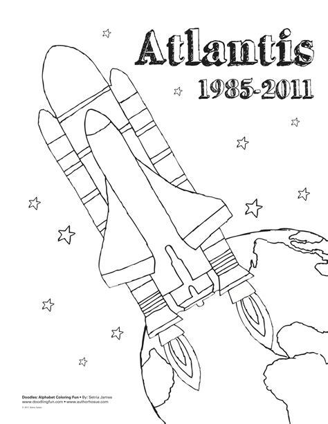Atlantis Space Shuttle Coloring Sheet Doodles Ave