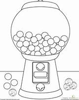 Gumball Machine Coloring Drawing Template Worksheets Gum Bubble Worksheet Pages Kindergarten Learning Education Para Sheets Colors Gumballs Theme Candy Preschool sketch template