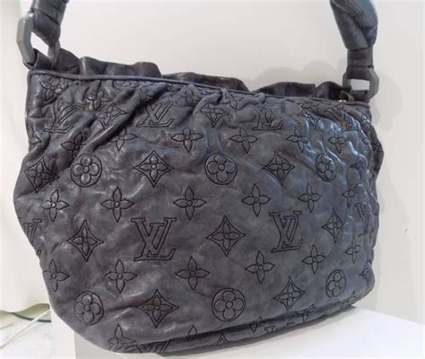 louis vuitton grey leather bag  stdibs