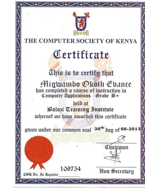 computer society  kenya certificate