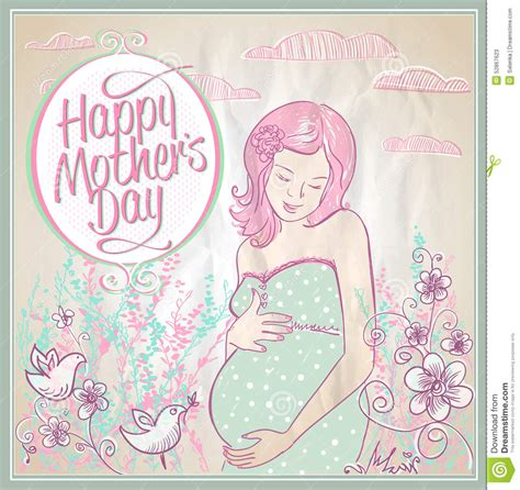 mothers day card  mother  child silhouette stock