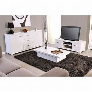 ensemble meuble tv table basse buffet blanc achat With ensemble meuble tv et table basse