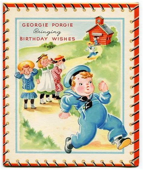 vintage birthday card georgie porgie sheet