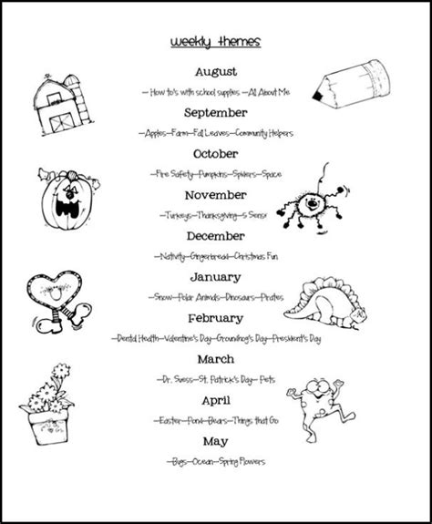 monthly theme ideas for preschool weekly themes pre k curriculum ideas 337