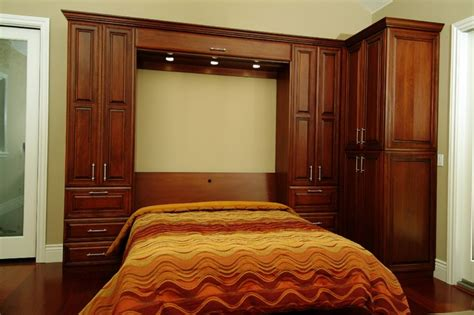 custom stained cherry wall bed traditional bedroom