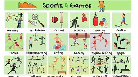 list  sports types  sports  games  english