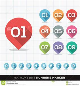 Numbers Pin Marker Flat Icons With Long Shadow Set Stock ...