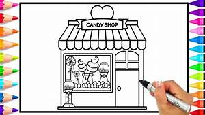 How To Draw A Candy Shop For Kids