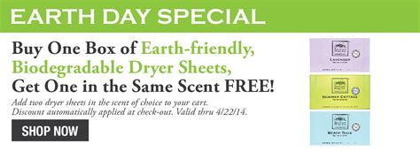 buy one box of earth friendly biodegradable dryer sheets