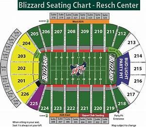 Budweiser Event Center Seating Chart Green Bay Blizzard Vs Cedar Rapids Resch Center