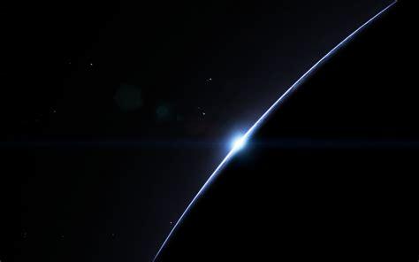 Wallpaper Dark, Simple, Space, Planet, Sunrise, Stars