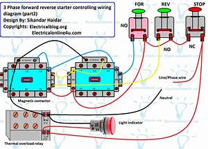 Reverse Forward Motor Control Circuit Diagram For 3 Phase Motor