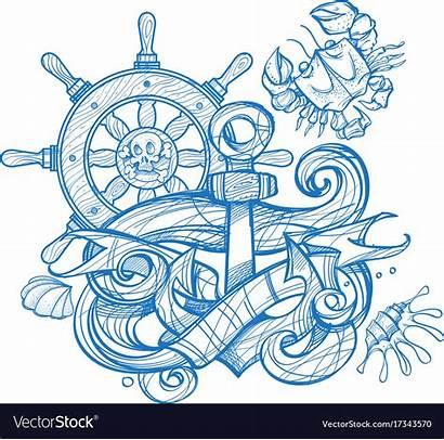 Wheel Anchor Tattoo Steering Ships Vector Crab