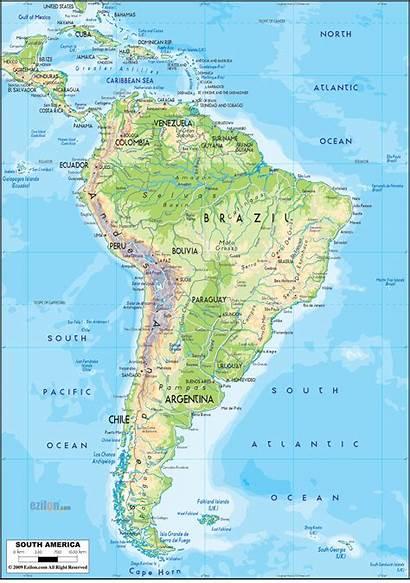 Physical America Map South Maps American Ezilon