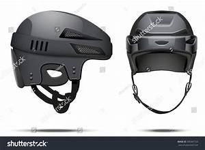 Classic Black Hockey Helmet Front Side Stock Illustration ...