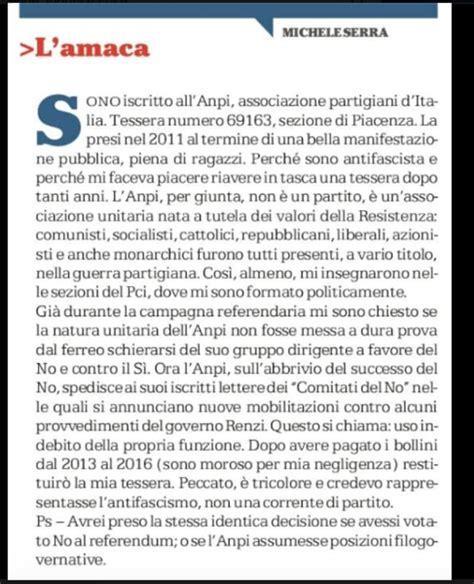 L Amaca Serra Michele Serra Restituisce La Tessera Anpi Di Piacenza