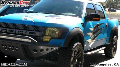 matte blue ford raptor truck wrap  sticker citymp