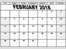 February 2018 Monthly Calendar Printable