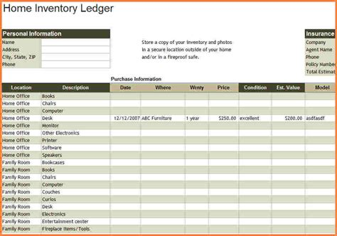 household inventory spreadsheet excel spreadsheets group