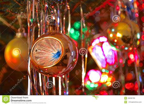 kitsch 70s style decorated tree stock photo