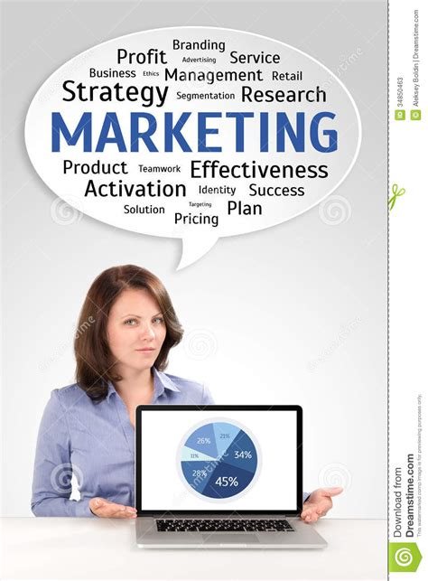 Marketing Research Of A Young Business Woman Stock Photos