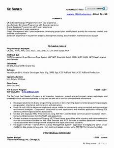 attractive asp net developer resume sample festooning With sample resume for net developer with 2 year experience