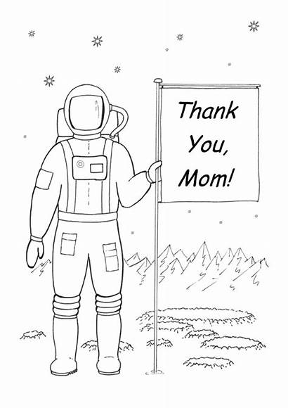 Thank Coloring Printable Mom Happy Astronaut Space