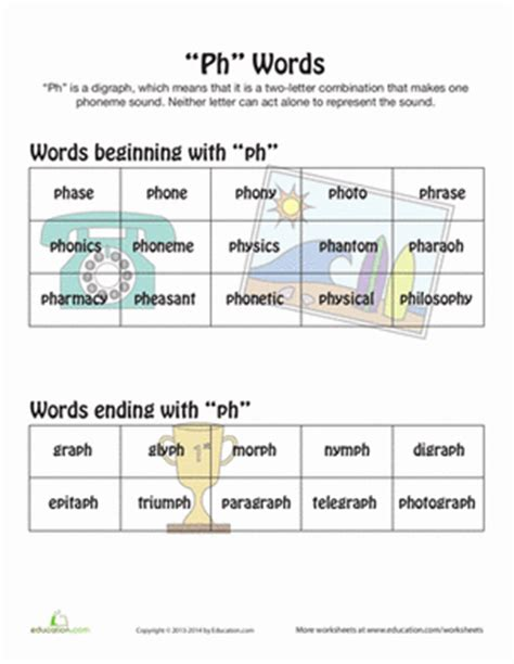 words with ph worksheet education