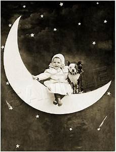 BABY & BOSTON TERRIER DOG on PAPER MOON VINTAGE *CANVAS ...