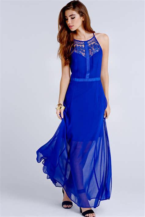 girls  film blue crochet lace insert maxi dress girls