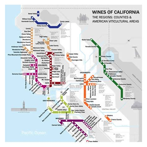 Carte Vin Metro by De S Metro Style Wine Map Of California Wine