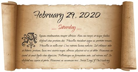 What Day Of The Week Is February 29 2020?