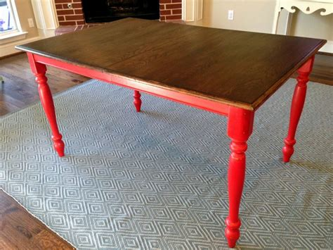 honey stained  oak kitchen table turned  farmhouse