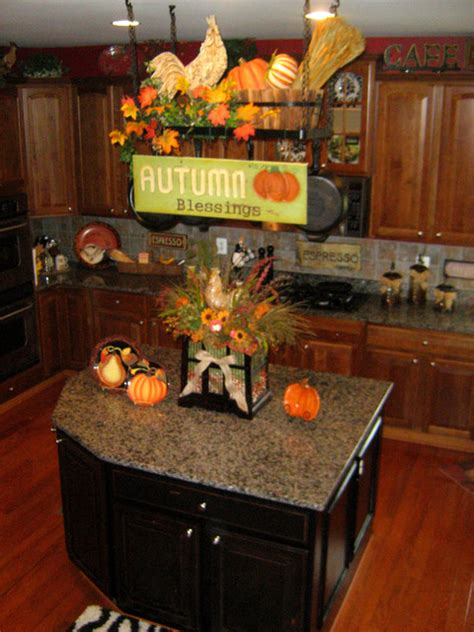 decorate  pot rack  fall traditional kitchen