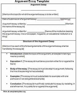 Essay Template For Argument  Template Of Argument Essay
