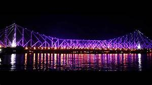 Howrah Bridge Changes Colour At Night Hd Video