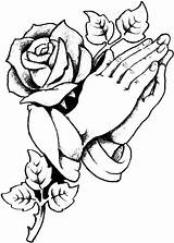 Praying Hands Rose Cross Tattoo Roses Prayer Tattoos Coloring Drawing Drawings Stencil Clipart Pencil Stencils Adult Cultured Sketches Copy Google sketch template
