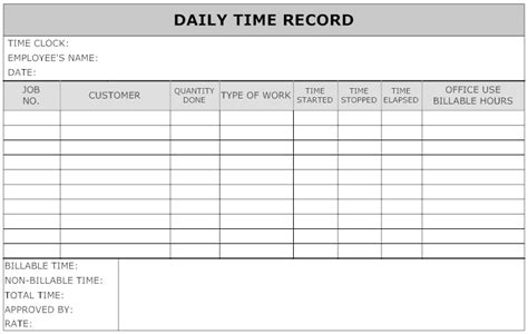 Time Recording Template by Exle Image Daily Time Record Work