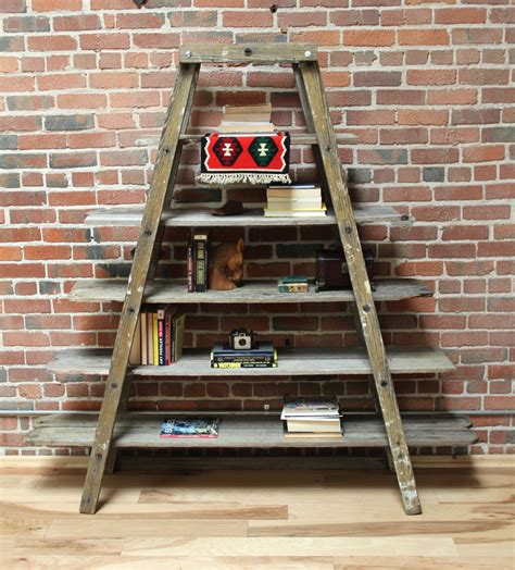 teal blue ladder shelf sold gallery weathered warehouse 6020