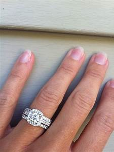 cushion halo engagement ring with two wedding bands but i With engagement ring with double wedding band