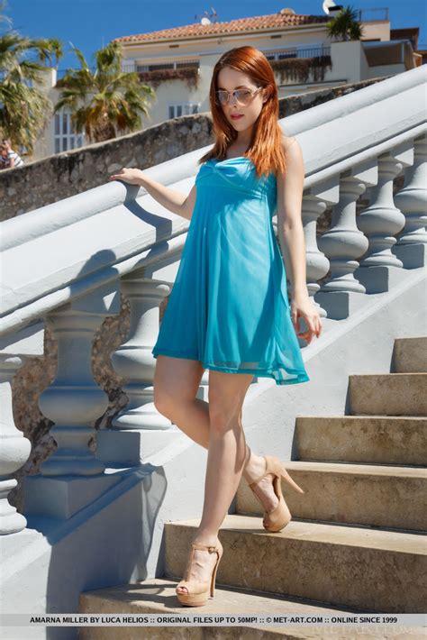 Cute Redhead Amarna Miller Slips Off Sun Dress To Pose
