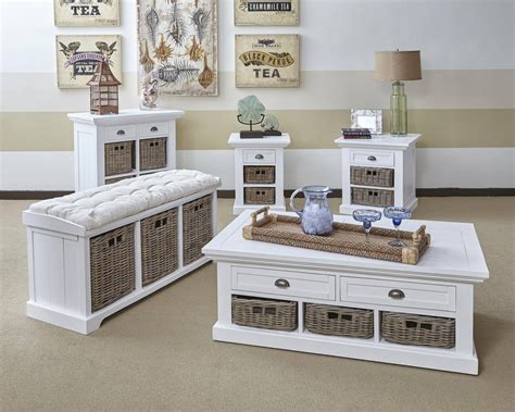 Natural Origins Grey White Wood Coffee Table Set