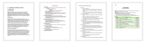 training  outline template    word