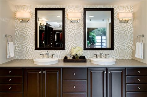 Tile Wall With Double Wall Mirror And Round Sink